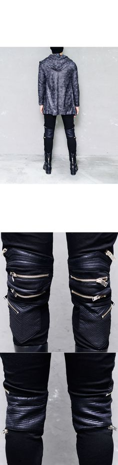 Bottoms :: Pants :: Open Zipper Leather Patch Slim Biker-Pants 148 - Mens Fashion Clothing For An Attractive Guy Look