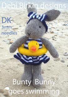 bunny rabbit knitting pattern - easy knitted toy patterns by Debi Birkin www.debibirkin.com