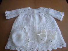 Baby girls white ROSEBUD hand knit CHRISTENING by xxdaisychainsxx, $75.00