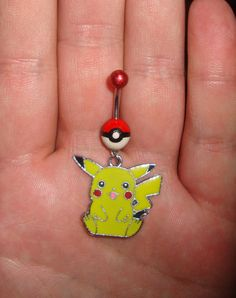 Pokeball Pikachu belly ring by Gamers4Gamers on Etsy, $19.99