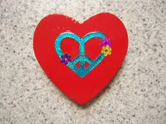Neon Blue Heart Peace Sign on a Red Wood Heart by CraftsbyCummins