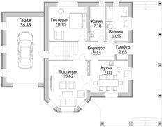 Проект дома C-222M - Проекты домов и коттеджей в Москве Floor Plans, Bahia