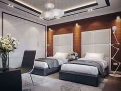 Awesome Twin Modern Bedroom Design Ideas with double bed for boys and girls room. Awesome Twin Modern Bedroom Design Ideas with double bed for boys and girls room-Room Ideas – Aw Hotel Room Design, Bedroom Bed Design, Modern Bedroom Design, Modern Boys Rooms, Modern Room, Upstairs Bedroom, Bedroom Boys, Duplex, Guest Bedrooms