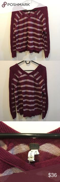FREE PEOPLE Maroon Striped Crochet Sleeve Sweater Free People maroon and Cream striped sweater shirt with Crochet Detail along the sleeves and is not lined- very soft and a great layering piece! Size small! Free People Sweaters