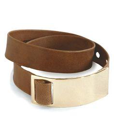 Another great find on #zulily! Camel Leather Wrap Bracelet #zulilyfinds