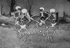 """Time for Spooky Party, Funnyjunk! Everybody is having a Halloween party so Funnyjunk should have one too. Post music, dance gifs and have a Spooky time. """"Is this the skeleton dance? Halloween Gif, Halloween Wallpaper, Vintage Halloween, Halloween Skeletons, Halloween Pictures, Happy Halloween, Disney Halloween, Halloween Crafts, Vintage Cartoons"""