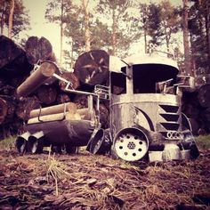 Timber Truck Firepit Wood Burner Log Burners..Handcrafted Recycled Art work from Scottish Artist, Barry wood..