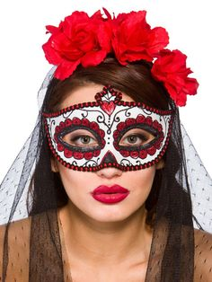 Adult Day Of The Dead Eye Mask Mexican Halloween Fancy Dress Accessory New