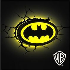 Do your kids love action heroes? Batman may be the coolest action hero of all.great costume, has a helpful friend.and best of all, a very spiffy tricked out hideout. Deck out your kids room in high style with these fun & practical room accessories. Batman Room Decor, Batman Bedroom, Neon Light, 3d Light, Logo Batman, Batman Signal, Geek House, Basement Movie Room, Avengers Room