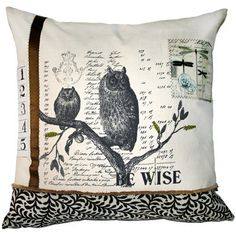 Be Wise Pillow with Appliques by Layla Grayce $173