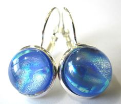 Handmade dichroic glass earrings, blue with silver. Each unique and dynamic
