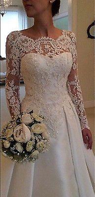 Novo Sexy Backless white/ivory Manga Longa Laço Vestido De Noiva De Vestido De Casamento Personalizado