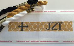 Needlepoint Key Fob Kit- Cross quatrefoil pattern with monogram (Hand Painted to Order)