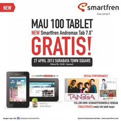 Don't forget to follow @smartfrenworld and like Facebook fan page Smartfren, to get #TabletGratis