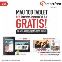 Don't forget to follow @smartfrenworld and like Facebook fan page Smartfren, to get #TabletGratis