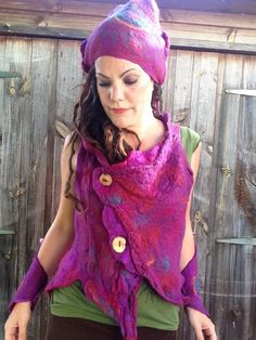 Custom Made for Estelle The 'Fuchsia Flush' Felted by Cocoleeko #cocoleeko #wearableart #feltedclothing #pixieclothing #arttowear #nunofelted #fiberart