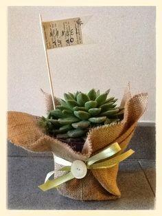 bomboniere comunione con piante grasse - Cerca con Google Flower Bag, Burlap Flowers, Balloon Decorations, Xmas, Christmas, Confetti, Christening, Marie, Wedding Flowers