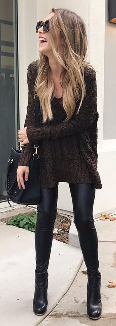 #winter #fashion / Black Knit / Black Leather Leggings / Black Leather Booties / Black Leather Shoulder Bag