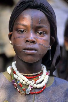 Africa   Girl with facial scarification from Konso, southwestern Ethiopia   ©Fogstock