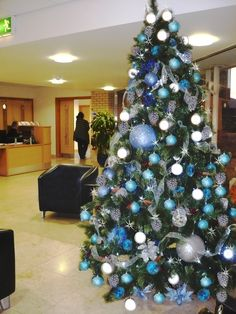 Blue and silver Christmas tree installed by Barton Grange Landscapes