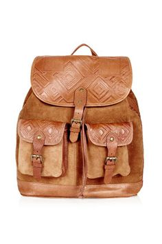 Embossed Suede Backpack