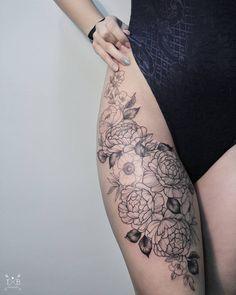 Flowers peonies roses anemones freesia thigh hip tattoo by Irene Bogachuk @irenebogachuk #IB_TATTOOING