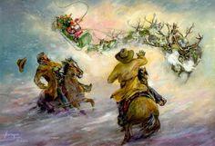 Cowboy Christmas Art- Santa meets up with the cowboys