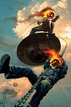 Ghost Rider vs Jack O'Lantern by Arthur Suydam