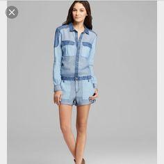 Paige Romper S Blue Denim Shorts New Chambray Mini