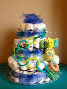 Diaper cake for baby boy shower:)