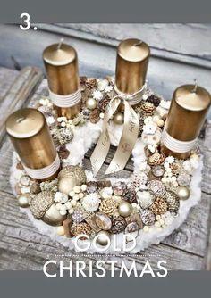 Christmas Advent Wreath, Xmas Wreaths, Christmas Deco, Gold Christmas, Advent Wreaths, Handmade Christmas Crafts, Christmas Photography, Diy Weihnachten, Xmas Decorations
