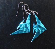 Fish origami earrings in metallic turqouise. On sale for 6€
