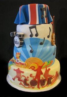 British Invasion bar mitzvah cake Cake by amiri Paddington Bear Party, Birthday Bash, Birthday Cakes, Cake Bars, Music Party, British Invasion, Biscuit Cookies, Bar Mitzvah, Themed Cakes