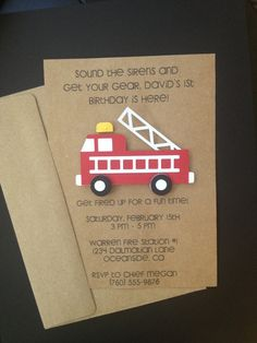 Fire Truck Invitations Custom Made for Kid's Birthday Party or Baby Shower on Kraft Paper, Set of 8 Cards - Decoration For Home Third Birthday, 3rd Birthday Parties, Birthday Fun, Birthday Party Invitations, Fire Truck Birthday Party, Birthday Ideas, Wedding Invitations, Fireman Party, Firefighter Birthday