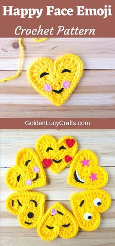 Crochet heart-shaped Happy Face Emoji, free crochet pattern. Crochet applique, crochet heart, Valentine's Day gift idea, decoration, embellishment. Crochet Thread Size 10, Crochet Hook Sizes, Crochet Motif, Single Crochet, Crochet Appliques, Crochet Hooks, Crochet Hearts, Free Crochet, Easy Crochet Projects