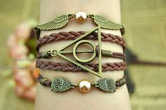 Harry potter bracelet owl wing  Pearl bracelet by BeautifulShow, $5.50 Fashion personalized charm bracelet. Friendship, birthday, holiday gift.