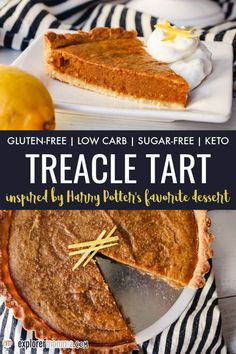 Delicious Harry Potter-inspired keto treacle tart has a gluten-free almond flour crust filled with low carb lemony sticky goodness with no added sugar! Top with clotted cream or whipped cream and celebrate this fabulous British dessert. Lemon Recipes, Tart Recipes, Real Food Recipes, Snack Recipes, Dessert Recipes, Gf Recipes, Delicious Recipes, Gluten Free Crust, Gluten Free Recipes