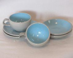 Harkerware Stoneware Robins Egg Blue and Grey, Teacup, Saucer, and Berry Bowls, Made in USA