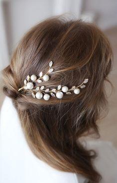 Bridal Hair Chain, Wedding Hair Clips, Bridal Hair Pins, Wedding Clip, Handmade Wire Jewelry, Pearl Hair Pins, Hair Beads, Wedding Hair Accessories, Hair Jewelry