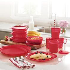Tupperware Made With Love Set - Get it all for just $39.00! Make the most of mealtime with the best brunch set.  Set of four Microwave Reheatable Luncheon Plates, four Microwave Reheatable Cereal Bowls with seals (remove seals before reheating) and four Tupperware® Impressions Mugs with Drip-Less Straw Seals