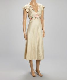 WANT!! LOVE!! LOVE!! LOVE!! WANT!!  Tan Floral Embroidered Silk-Blend Empire-Waist Dress by Papillon Imports #zulily #zulilyfinds