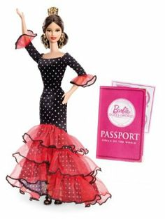 Barbie Collector Dolls of The World-Spain Doll by Mattel. $28.96. Featuring accessories to add play value that include a passport and sticker sheet. Spain Barbie wears a flamenco-inspired gown with ruffled layers and polka dot accents. Strappy shoes, drop earrings and a classic Mantilla comb complete her look. The Dolls of the World Collection has returned in ancestral dress from various countries. Collect all your favorite Barbie Dolls of the World collectible dolls. Fr...