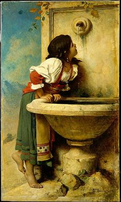 "Thanks to Alana Coons for this - 1875 oil painting by Leon Bonnat, ""Roman Girl at a Fountain"", New York's Metropolitan Museum of Art - likely inspired the 1924 signed Mexican tile on the Sunset Blvd Spanish Revival home. Art Amour, Fine Art, Beautiful Paintings, Classic Paintings, European Paintings, Art Paintings, Metropolitan Museum, Art Reproductions, Art History"
