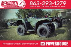 New 2017 Honda FourTrax Foreman 4x4 ATVs For Sale in Florida. 2017 HONDA FourTrax Foreman 4x4, McKibben Powersport Honda is a family owned and operated dealership in Winter Haven, Florida. We are located at 3699 US HWY 17 N Winter Haven Fl, 33881 between US HWY 92 and Havendale Blvd. We proudly serve Polk county and the surrounding areas, to include Lakeland, Auburndale, Bartow, Kissimmee, Lake Alfred, and Sebring. We are a Honda Powerhouse Dealer and we represent the full line for Honda…