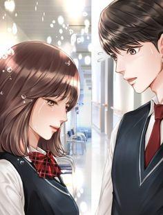 Manga Couple, Anime Couples Manga, Manga Love, Anime Love, Korean Drama Romance, Korean Beauty Girls, Couple Illustration, Korean Couple, Handsome Anime Guys