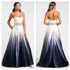 Ashley Lauren 1129. Available in Navy Ombre, Fuchsia Ombre and Yellow Ombre. Mia Bella Couture. California Glam. Ashley Lauren. Evening Gown. Strapless. Rhinestones. Pearls. Ball Gown. Beautiful.