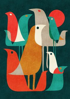 - Birds - midcentury modern / retro Flock of Birds Art Print by Picomodi Mid Century Modern Art, Mid Century Art, Vogel Illustration, Motif Vintage, Flock Of Birds, Arte Popular, Retro Art, Retro Color, Bird Art