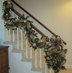 Christmas Stair Garland & Swag SET, Bethlehem Lighted Garland, Deco Mesh, Luxury Wreath, Elegant Stairway Banister,Fireplace Mantel Garland  by GiftsByWhatABeautifu on Etsy