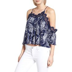 Women's Moon River Cold Shoulder Crop Top ($108) ❤ liked on Polyvore featuring tops, navy, off the shoulder crop top, lace off the shoulder top, crop top, floral lace top and floral tops