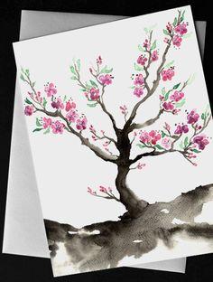 Sakura Art Pink Cherry Blossom Floral Sumie by BrazenDesignStudio, $5.00